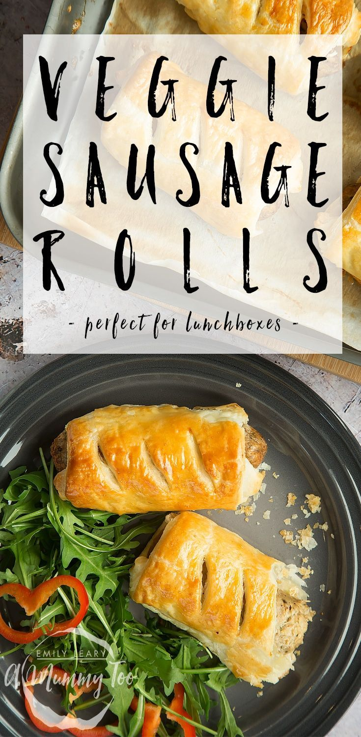 3 ingredient vegetarian sausage rolls! The kids have officially grown bored of sandwiches, so we made up these sausage rolls to go their lunchboxes. This quick vegetarian sausage roll recipe for kids uses ready roll pastry so it's simple and easy to make.
