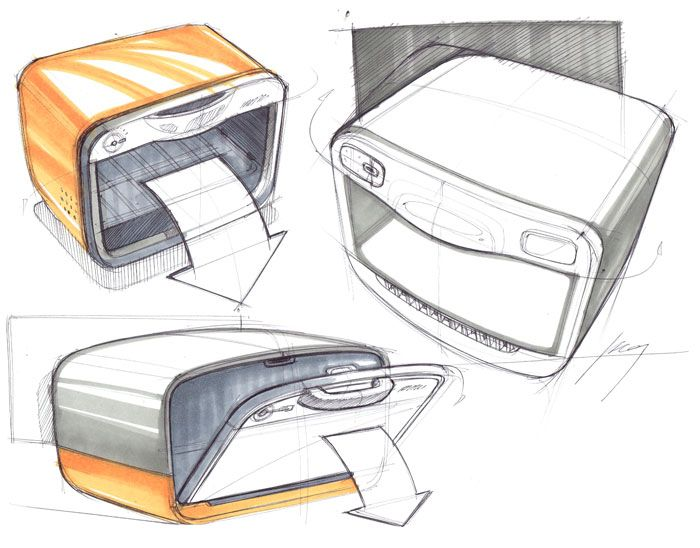 Sketches of Toaster Ovens by Designer Spencer Nugent
