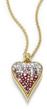 Pleve Raspberry Ombre Diamond & 18K Yellow Gold Heart Pendant Necklace