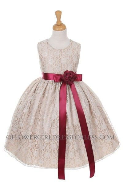 CC_1132CHBUR - Girls Dress Style 1132- CHAMPAGNE Taffeta and Lace Dress with BURGUNDY Accents - Burgundy and Wines - Flower Girl Dress For Less