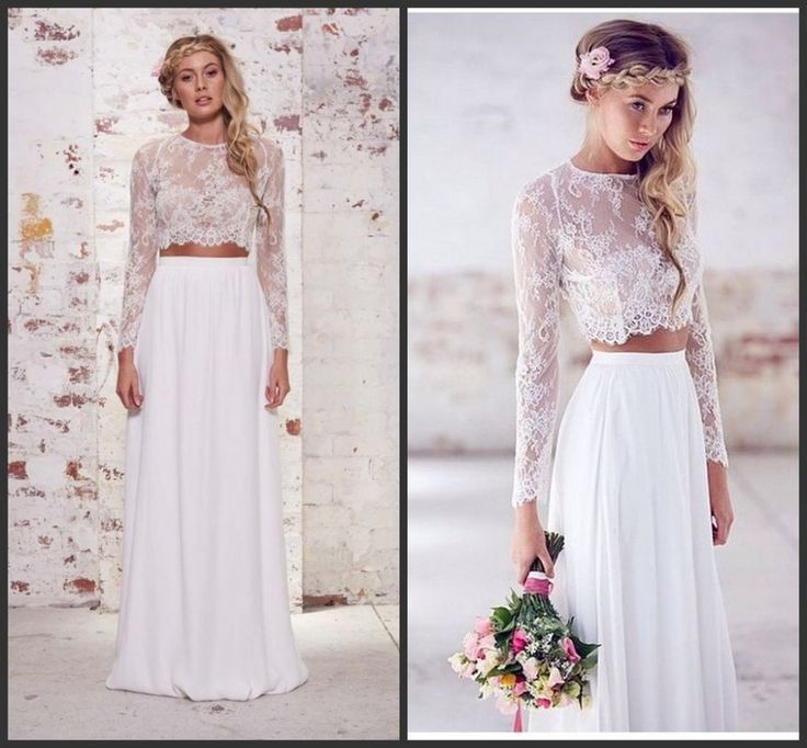 Los vestidos de novia de dos piezas son tendencia en 2016.