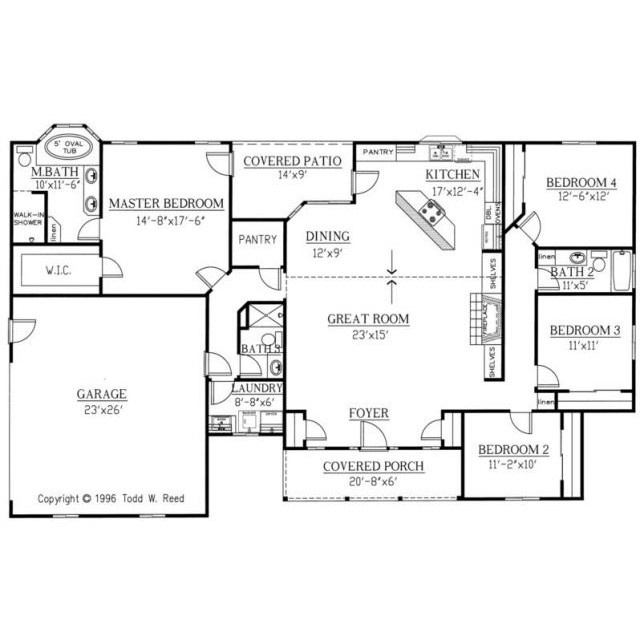 I like this open plan and that it has 2 pantries.  I also like the shower right off the garage.