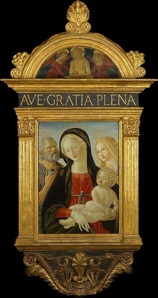 Madonna and Child with Saints Jerome and Mary Magdalen by Neroccio de Landi (Neroccio di Bartolommeo di Benedetto di Neroccio de Landi) (Italian, Siena 1447-1500) ca. 1490 tempera on wood, 24 x 17 inches.