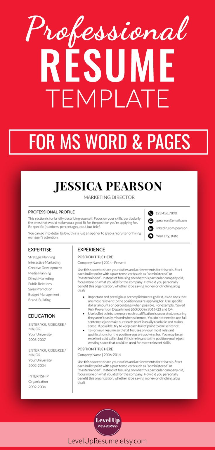 Professional Resume Template for Microsoft Word. Minimalist Resume Template + Cover Letter + References (#007)  #resume #resumedesign #resumetemplate #career #JobSearch