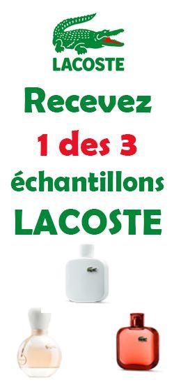 Recevez 1 des 3 échantillons LACOSTE.  http://rienquedugratuit.ca/produits-de-beaute/echantillons-parfum-lacoste/