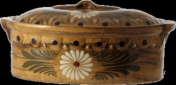 "Large baeckeoffe terrine ""wood"" - pottery Soufflenheim Alsace"