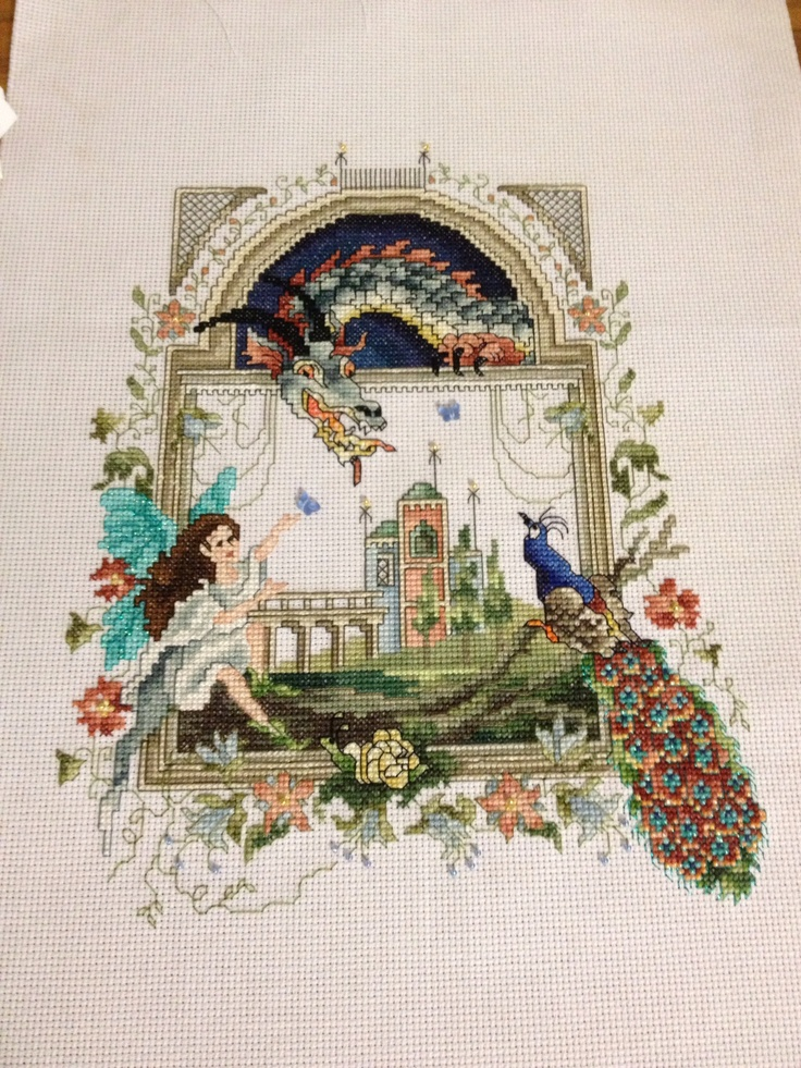 Dragon, fairy and peacock cross stitch | Cross stitch ...