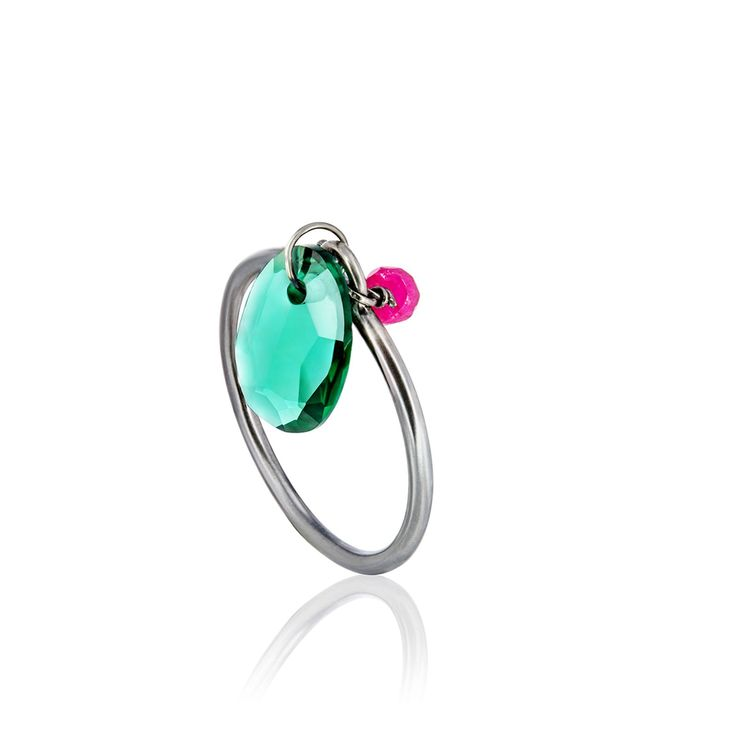 Burnished sterling silver Eugenia by TOUS Libertad collection ring with green hydrothermal quartz and ruby