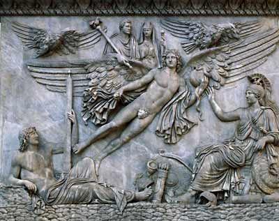 * Apotheosis of Antoninus Pius and Faustina the Elder, pedestal of the Column of Antoninus Pius, Rome, ca.161CE, Marble.