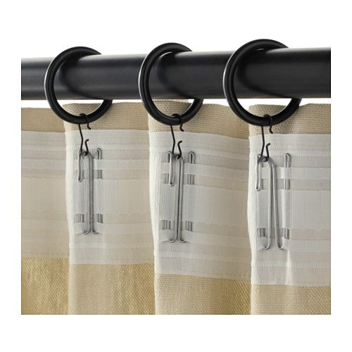 SYRLIG Curtain ring with clip and hook IKEA You can hang your curtains with either combination - rings with clips or rings with hooks. 1 1/2""