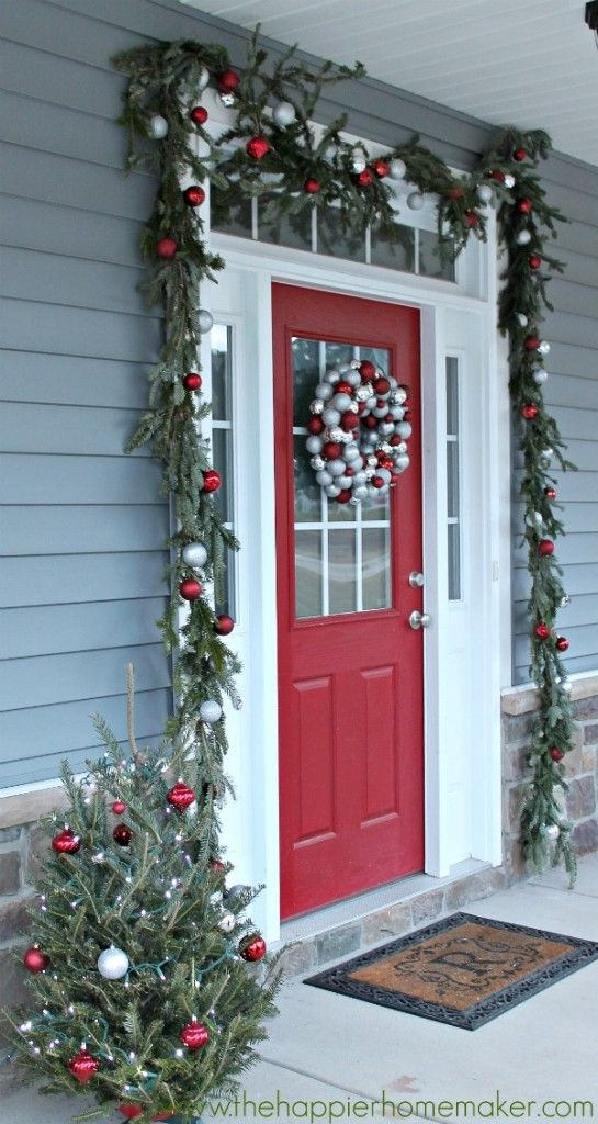 Top 42 Christmas ideas and porch decorations to deck the halls and welcome the Christmas Season. Gorgeous door wreaths, planters and lite trees.