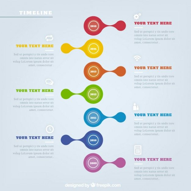Colored timeline infographic Free Vector
