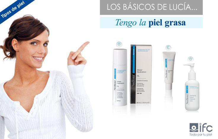 La piel grasa y con tendencia acneica como la de Lucía necesita productos cosméticos seborreguladores, exfoliantes y astringentes que ayuden a reducir la cantidad de grasa y el tamaño de poro de la piel y mejorar su textura