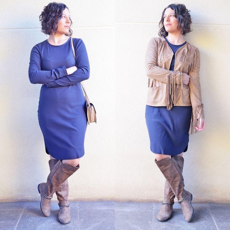 Chaqueta de flecos - Temporada: Otoño-Invierno - Tags: flecos, maxi vestido, marron, nude - Descripción: Look con maxi vestido de punto y chaqueta de flecos http://mivestidoazul.com/looks/maxi-vestido-y-chaqueta-de-flecos/