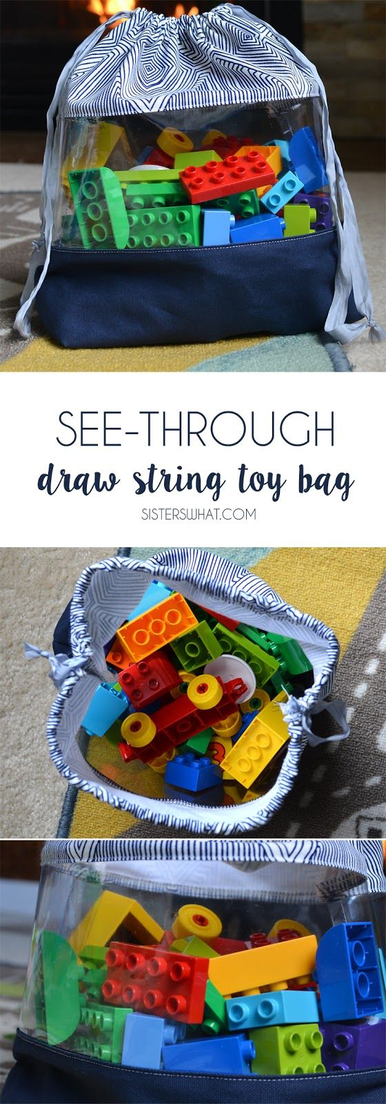 30 minute see through drawstring toy bag...perfect for organizing toys!!