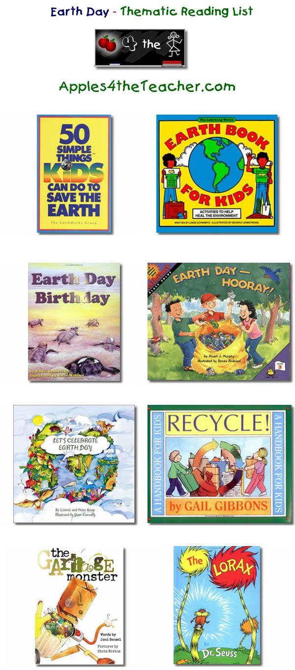 Suggested thematic reading list for Earth Day - Earth Day books for kids.   http://www.apples4theteacher.com/holidays/earth-day/kids-books/