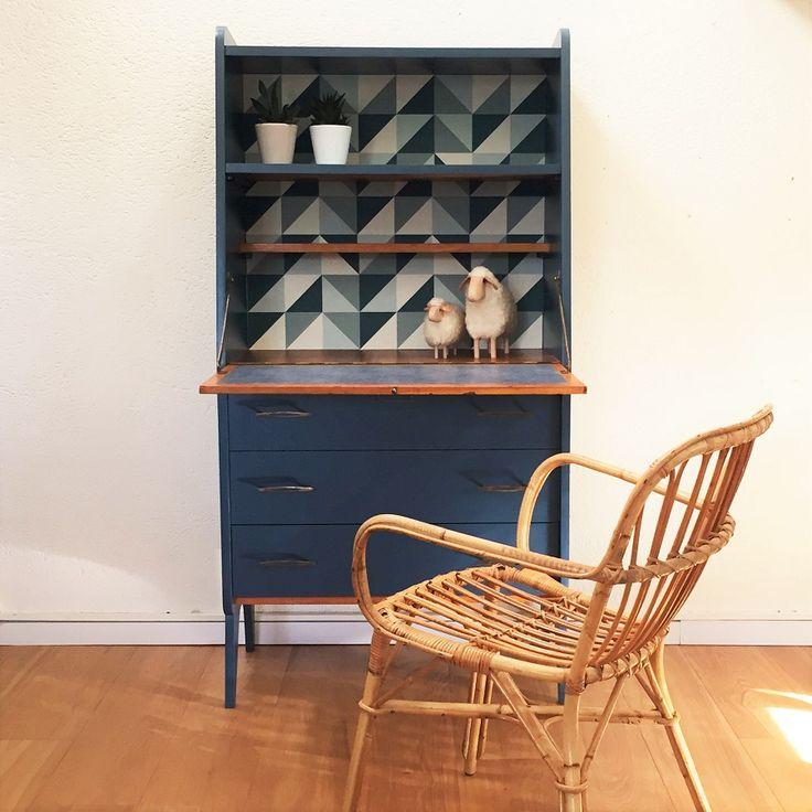 secretaire vintage scandinave rénové en pièce unique - Vintage secretary desk, mid century modern, ooak