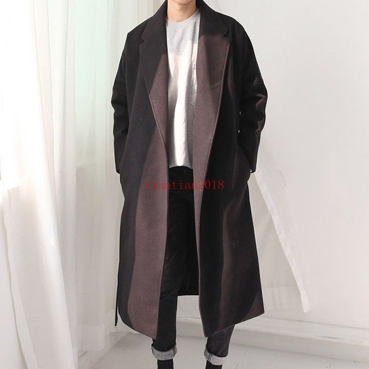 Korean Fashion Mens Wool Blend Trench Coat Long Loose Belt Lapel Overcoat Jacket | eBay