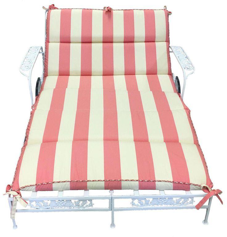 1950s Salterini White Wrought Iron Double Chaise Longue w/ Custom Cushion on Chairish.com