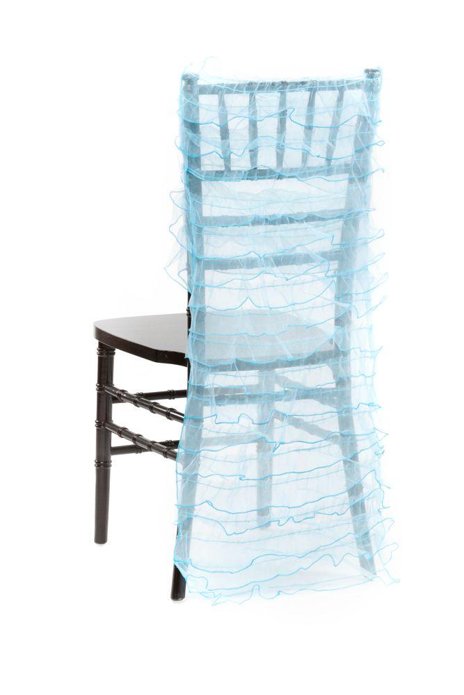 Ruffle Organza Aqua Blue Chair Covers Mercedes Nautical