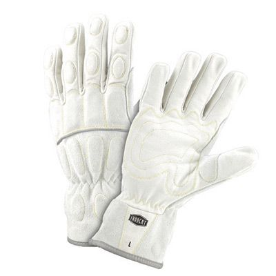 West Chester Medium Ironcat Full Finger Buffalo And Cow Leather And Kevlar Mechanics Gloves With Foam Padding And Wing Thumb, White