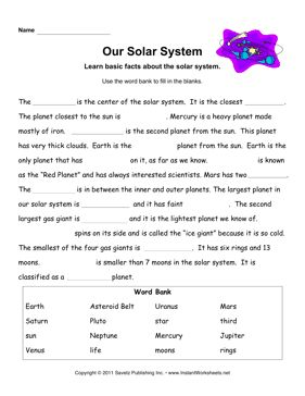Solar system facts worksheet. Students are to fill in the blanks. There is an answer key provided.