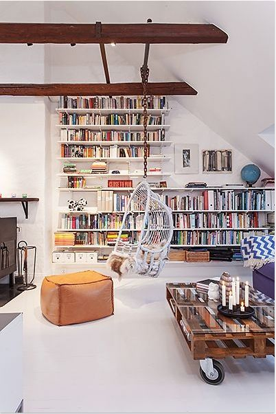 Hanging chair & book wall