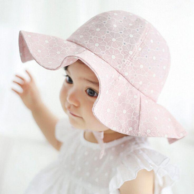 Bebek yaz açık kız bebek vizör pamuk güneş cap çiçek baskı pembe beyaz plaj kova şapka