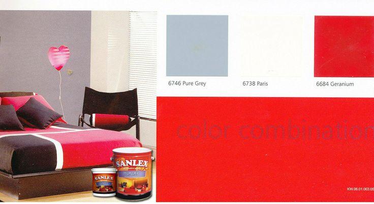 Seimbangkan warna Geranium yang kuat dari cat tembok SANLEX Wonder dengan warna netral, Pure Grey. Desain rumah minimalis pun tampil manis. #HiyotoIdea #homedesign #homedecor #housedesign #housedecor #interiordesign #livingroom #colorcombination