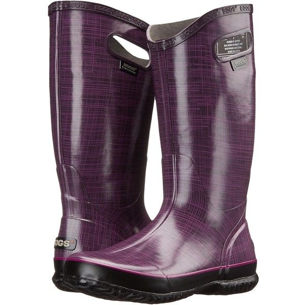 Bogs Linen Rainboot (Purple) Women's Rain Boots ($58) ❤ liked on Polyvore featuring shoes, boots, mid-calf boots, purple, long boots, purple rain boots, waterproof wellington boots, lined rubber boots and waterproof rubber boots