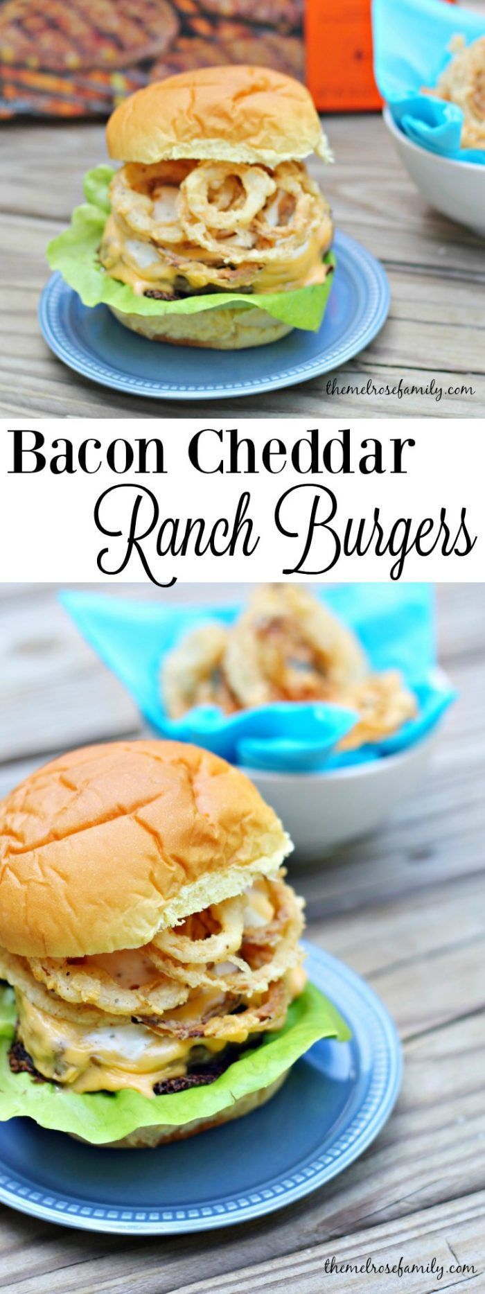 Need the perfect burger for your next barbecue? These Bacon Cheddar Ranch Burgers with Onion Strings are just what a crowd ordered.