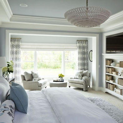 Very Serene Master Love The Blue Tones With White Trim Accent Paint On Ceiling Fun Chandelier Give This Room Some Cha
