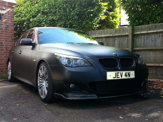 BMW 525 Matte Black Wrap from Grey - Colour Change by Wrapping Cars London