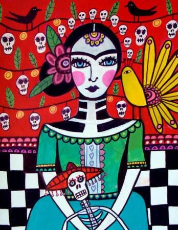 50% off - DAY OF the DEAD Mexican Folk art Panel Poster of Painting Mounted Ready To Hang Signed Print Heather Galler
