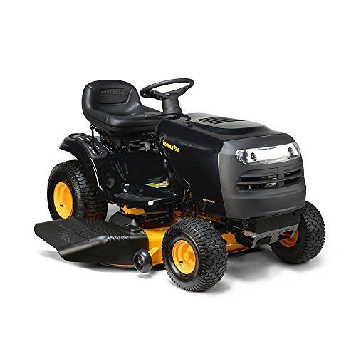 "Product review for Poulan Pro 960420195 46"" 17.5HP Briggs and Stratton Automatic Gas Front-Engine Riding Mower. Equipped with a 46"" reinforced steel cutting deck, powerful Briggs & Stratton 17.5 HP engine, and fender-mounted, lever-controlled 6-speed transmission, the Poulenc Pro PP175G46 riding mower is powerful and versatile. It's ideal for yards with flat, hilly, or uneven terrain, and..."