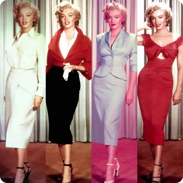 Marilyn knew the V neckline and a cinched-in waistline work wonders for the hourglass figure.