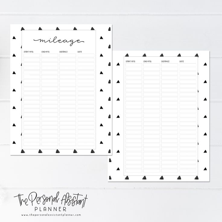 8.5x11 Mileage Tracker Printable Planner Insert Pages - The Personal Assistant Business Planner