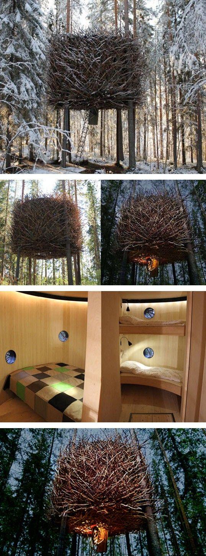 """The """"Birdnest,"""" a new hotel in Sweden designed by Tham & Videgård Arkitekter."""