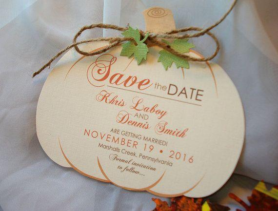 Pumpkin Hand Cut Ivory Linen Wedding Save the by envymarketing