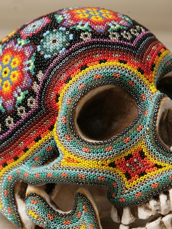 Huichol Art, Mexico - DIY on plastic skull with small beads and mod podge for headband storage (: