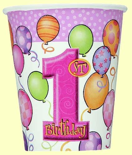 1st Birthday Pink Cups