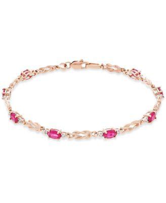 Ruby (2-1/4 ct. t.w.) and Diamond (1/10 ct. t.w.) Link Bracelet in 14k Rose Gold | macys.com