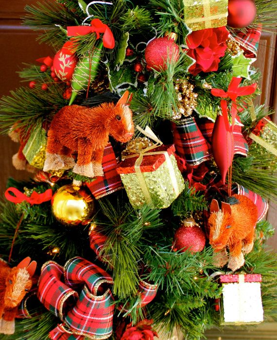 """Pre-Lit Christmas decor, Christmas gift, 36"""" Xmas tree red plaid bows, pre-lit with horses and ornaments, tabletop Christmas tree"""