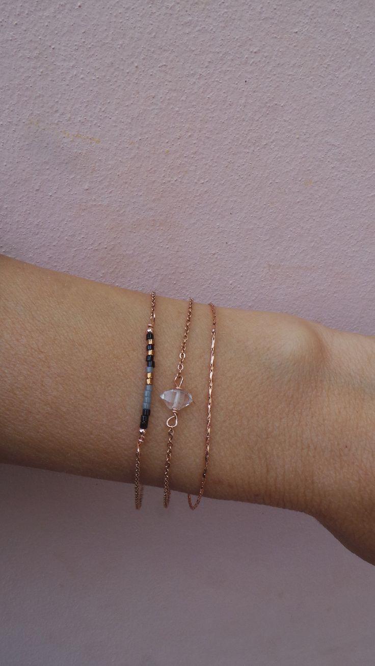 Minimalist gold/rose gold bracelet. Minimalist beaded
