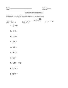 Function Notation Practice Worksheet Worksheets For School ...