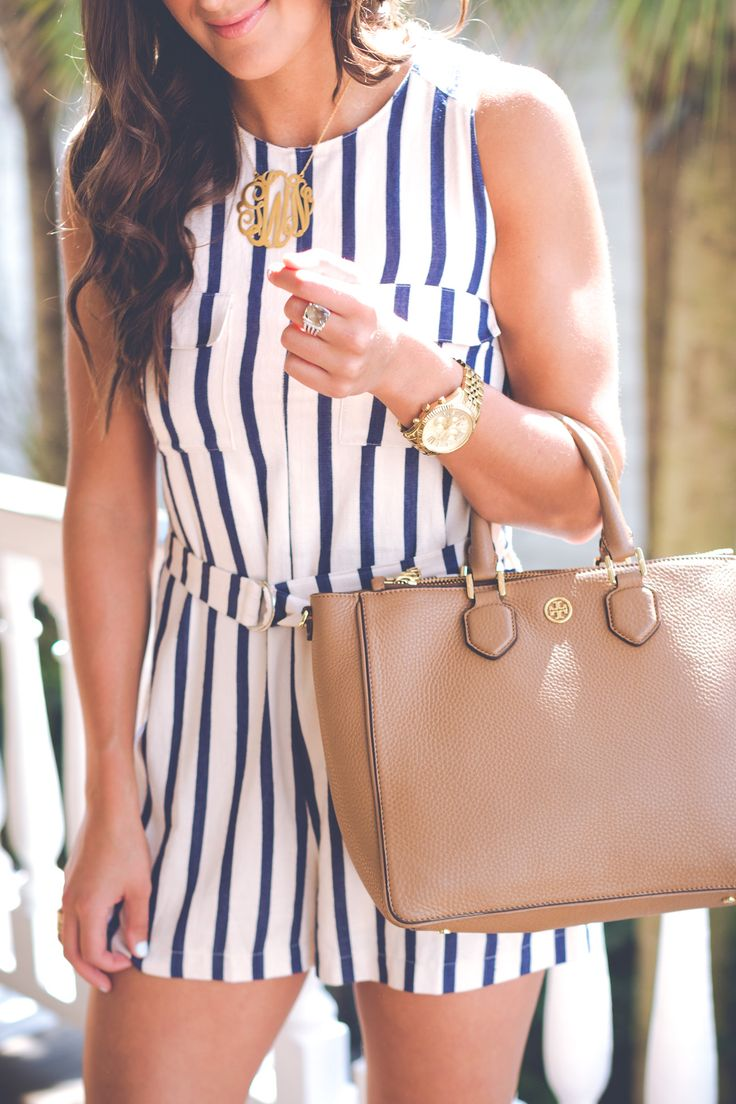 astr stripe romper, nautical stripe romper, gold monogram necklace, extra large gold monogram necklace, pinstripe romper, stripe dress, spring style, spring fashion, stripe spring outfit,  vacation style, zero george, stripe outfit, preppy outfit ideas, charleston south carolina, nordstrom romper // grace wainwright from a southern drawl