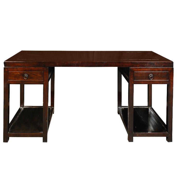 19th Century Chinese Pedestal Desk
