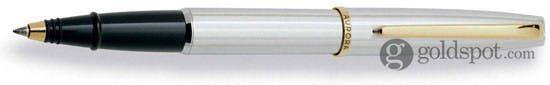 Aurora Style Chrome Barrel & Cap w/ Gold Trim Rollerball Pen