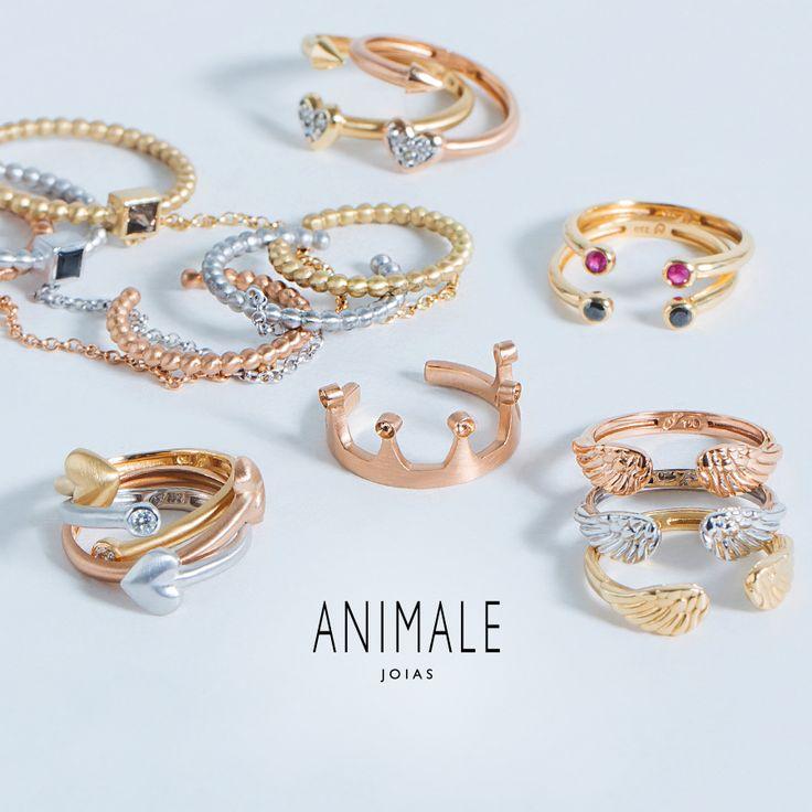 Seleção especial Dia dos Namorados: aneis de falange.  Animale Joias.