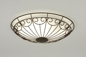 plafondlamp 71775: klassiek, retro, glas, wit opaalglas, metaal, roest, bruin, brons, rond ...